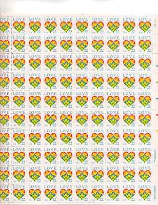 LOVE Heart Sheet of 100 x 22 Cent US Postage Stamps NEW Scot 2248