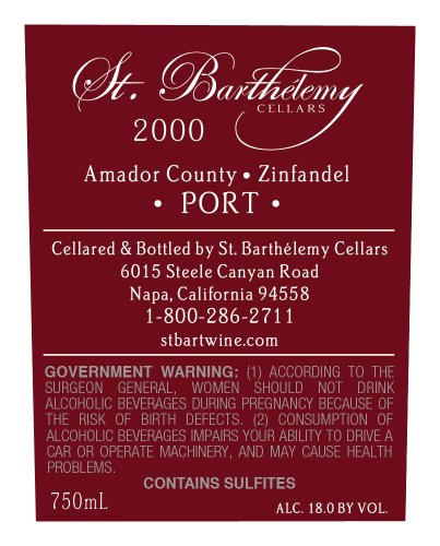 St. Barthelemy Cellars 2000  Zinfandel Port 750 Ml