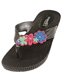 Capelli New York Woven Texture Girls Wedge Flip Flop With Flowers