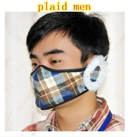 Steve Yiwu Thickening Villi Oftaliban Type Winter Protection Mask/Ear Cover (Plaid Men)