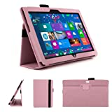 DURAGADGET Fashionable Pink Faux Leather Folio Case With Built In Stand Custom Designed For The Microsoft Surface 10.6 Inch Tablet Hybrid PC (With Windows RT, 32GB, 64GB, Type Cover Keyboard)