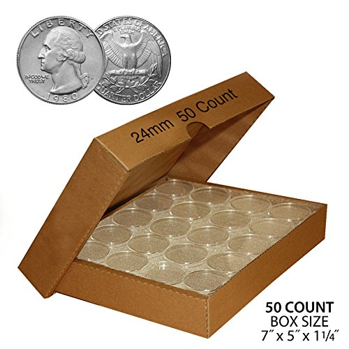 50-QUARTER-Direct-Fit-Airtight-24mm-Coin-Capsule-Holder-QUARTERS-QTY-50-w-BOX