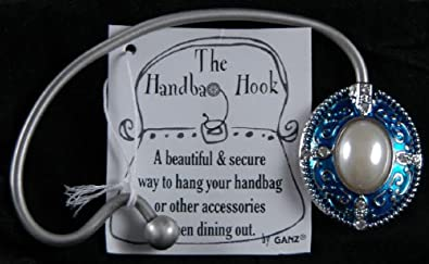 Ganz Handbag Bag Purse Hook Holder Silver and Blue NEW!