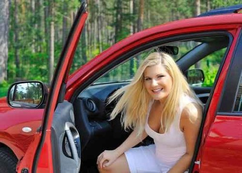 Beautiful Woman Driver in Red Shiny Car Opens the Door - 60