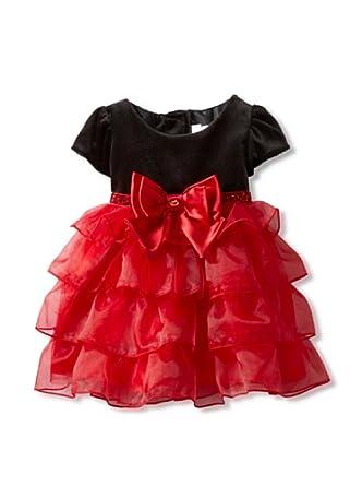 Youngland Baby-Girls Infant Multi Tier Chiffon Skirt, Black/Fuschia, 12 Months