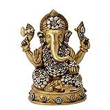Redbag Lord Lambodar Ganesha Brass Statue ( 20.32 Cm, 15.88 Cm, 11.43 Cm )