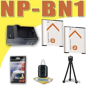 Two NPBN1 Lithium Ion Replacement Batteries w/Charger for Sony Cybershot DSCTX10 DSCTX100V DSC-T99 DSC-TX5 DSC-TX7 DSC-TX9 Digital Cameras DavisMAX Bundle