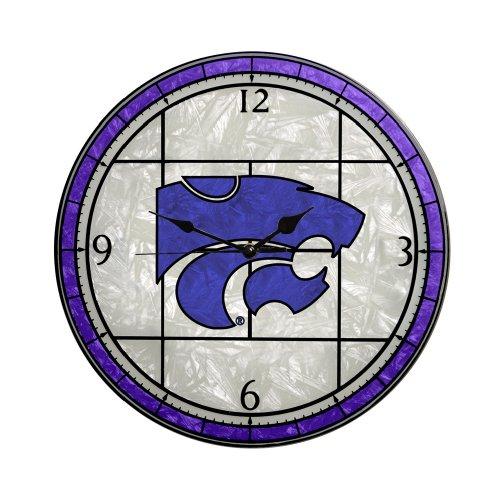 Memory Company Kansas State Wildcats 12in Art Glass Clock