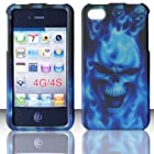 2D Blue Skull Apple Iphon iphone 4, 4S at&t. Verizon, Sprint, C Spire Case Cover Hard Phone case Snap-on Cover Rubberized Touch Faceplates
