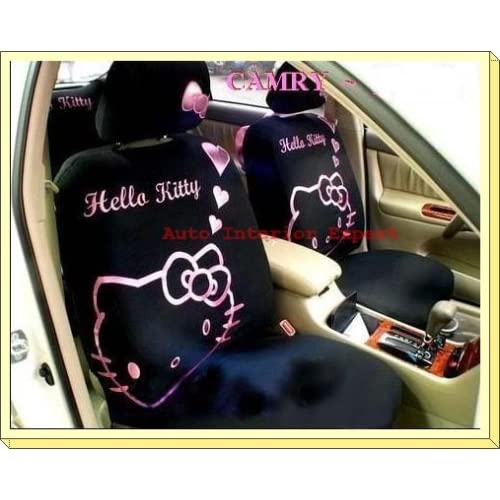 10PCS HELLO KITTY HEARTS UNIVERSAL CAR SEAT COVER SET BLACK H01
