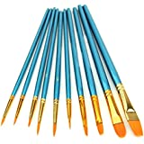 HeroNeo® 10Pcs Artists Paint Brush Set Acrylic Watercolor Round Pointed Tip Nylon Hair