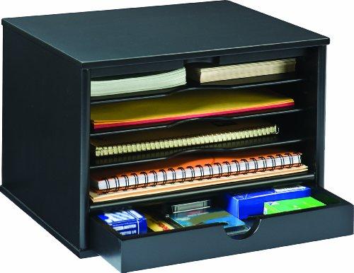 desktop drawer organizers midnight black collection shelf files folder storage ebay. Black Bedroom Furniture Sets. Home Design Ideas