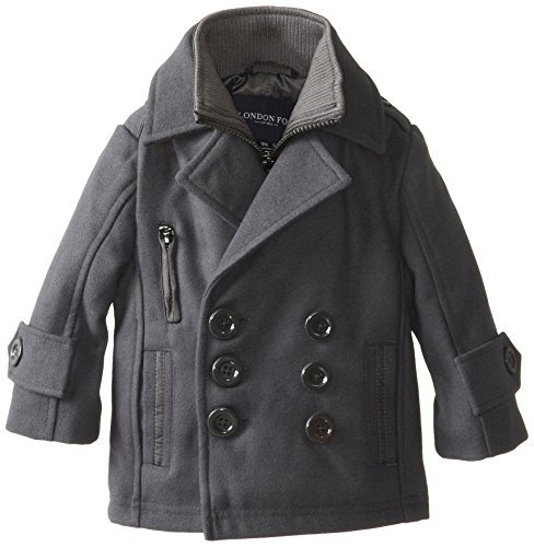 london-fog-baby-boys-infant-faux-wool-pea-coat-gray-24-months-color-gray-size-24-months