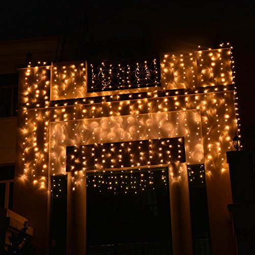 lederTEK 6Mx3M 8 Modes 750 LED Warm White Icicle Fairy String Lights Outdoor Party Christmas ...