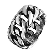 buy Double Fnt Polished Men'S Fashion Titanium Steel Chain-Shaped Ring Size 8-11