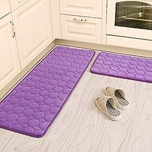 Ustide 3 Piece Kitchen Rug Set Purple Circle Area Rug Memory Foam Bathroom Mat Set