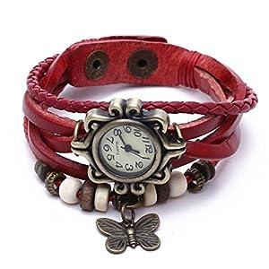 Reloj de Pusra Cuarzo Cuero Rojo Trenzado Mariposa Retro para Mujer Vintage por Bsupermart