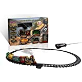 Ginzick Rc Remote Control Super Fun Classic Electric Train Set with Lights Sounds and Real Smoke (Perfect Gift and Spacial for Holiday)