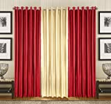 PINDIA 3 PC COMBO Faux Silk Eyelet Door Window Curtain, Polyester Plain Ringtop - 7ft Maroon2 Fawn1