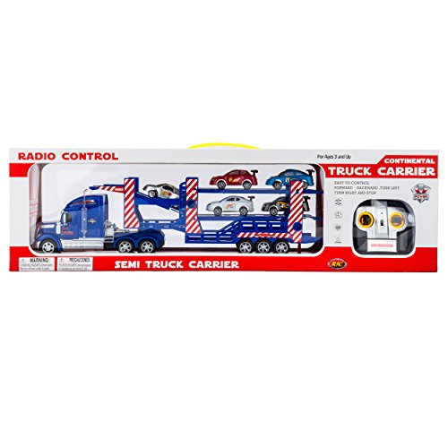 Remote Control (RC) Semi Trailer Truck with Race Car Radio Controlled Semi Truck Carrier with Three Toy Race Cars included (Blue) (Semi Trucks Rc compare prices)