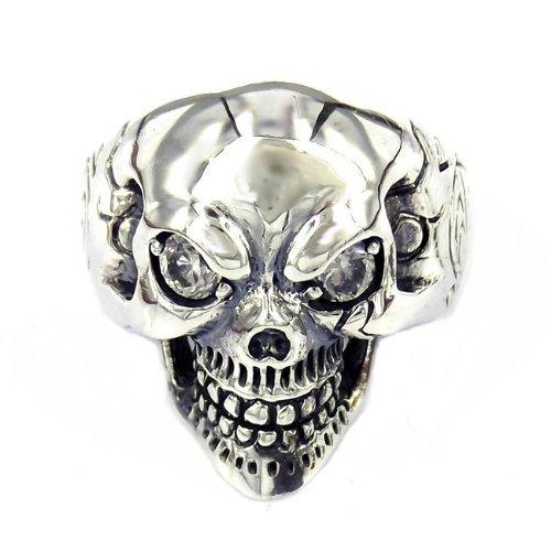Fierce Punk Skull Cubic Zirconium Eyes Sterling Silver Ring (14)