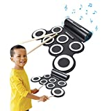 Electronic Roll up Drum Pad Kit, CoastaCloud Portable Electronic Drum with Built in Speaker with Sticks, Entertainment Kids Gift Children's Day Christmas Present Gift (Black&White)