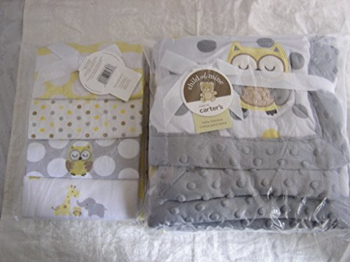 Carter'S Child Of Mine Treetop Friends Owl Valboa Baby Blanket & 4 Pack Receiving Blankets - 2 Ct Bundle front-191735