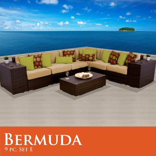 Bermuda 9 Piece Outdoor Wicker Patio Furniture Set 09E Sand