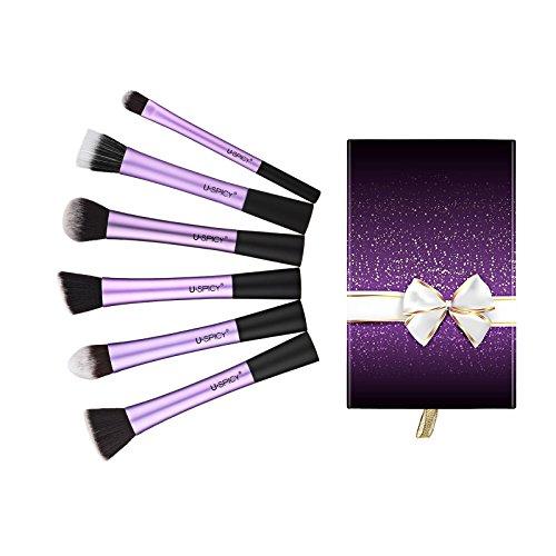 uspicy kit de 6 pinceaux maquillage professionnel avec coffret et carte de cadeau violet. Black Bedroom Furniture Sets. Home Design Ideas