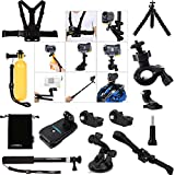 Luxebell 14-in-1 Accessories Bundle Kit for Sony Action Cam HDR-AS15/AS20/AS30V/AS100V/AS200V/Sony Action Cam HDR-AZ1 Mini Sony FDR-X1000V/W 4K Cameras, Helmet Strap Mount + Handheld Monopod Extendable Telescope Pole + Chest Strap Mount + Floating Handle Grip + Bike Handlebar Mount Holder + Car Suction Cup + 360 Rotary Clip Mount + Flexible Tripod Mount + Storage Pouch