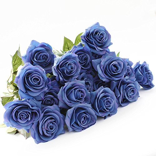 DIY Artificial Silk Craft Flowers for Bouquets, Weddings, Wreaths, & Crafts, Single Closed Rose Bud Stem 1 Bunch of 12pcs (Blue)