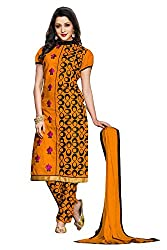 Kmozi New Orange Payal work Semi Stiched Dress Material