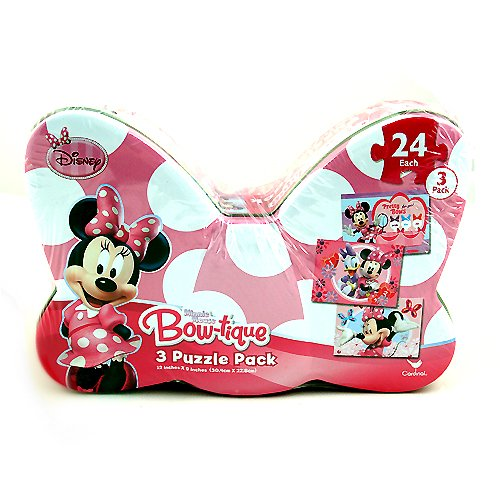 Minnie Mouse Bow-tique 3 Puzzle Pack in Bow Shaped Tin - 1