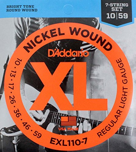D'Addario Exl110-7X5 (5 Sets) Electric Guitar Strings For 7 String Guitar, Nickel, Round Wound, Regular Light/7 String (.010, .013, .017, .026, .036, .046, .059)