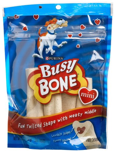 Busy Bone Mini Dog Treats(4-Count), 6.5-Ounce Bags (Pack of 8)