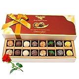 Valentine Chocholik's Belgium Chocolates - Assorted Truffles With Red Rose