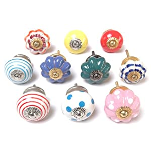 Mixed Set of Bright Coloured Cupboard Knobs x Pack 10 (MTP-02-K)