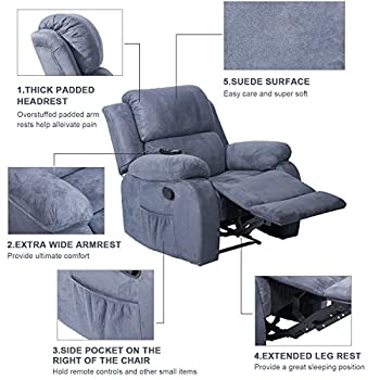 Merax Power Massage Reclining Chair with Heat and Massage Heated Vibrating Suede Massage Recliner