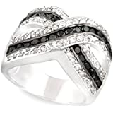 Jankuo Jewelry Curve Plus Size Cross Clear and Black Color Cubic Zirconia Cocktail Ring with Gift Box