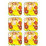 MeSleep Rakhi Wooden Coaster-Set Of 6 - B013LETNAE