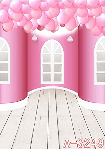 6.5 Ft*5 Ft (200cm*150cm) Pink Balloons Windows School 3D Backgrounds Studio 3D Baby Photography Backdrop Cloth K-3249