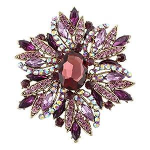Gold-Tone Lush Flower Purple Austrian Crystal Brooch A02684-22