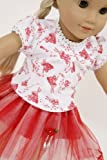 FRILLY LILY RED TUTU SKIRT AND FAIRY T SHIRT SET FOR DOLLS 14-18INS[35-45 CM]To fit dolls such as American Girl,Baby Born,Hannah by Gotz,Design a Friend DolL,Kidz and Cats,Precious Day Doll,Happy Kidz and many more dolls of this height[DOLL AND SHOES NOT INCLUDED]