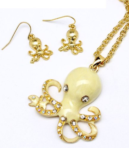 Golden Enameled Octopus & Earring Set