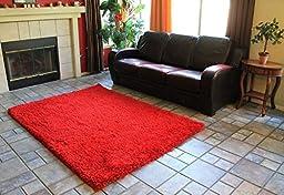 Red Shaggy Shag Area Rug 4\