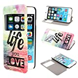 TUTUWEN View Window Painting Art Style Design PU Leather Flip Stand Case Cover for Apple iPhone 6 47 inch iPhone Air