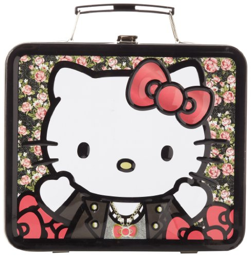 Hello Kitty Leather Jacket Flowers Sanlb0083 Childrens School Lunchbox,Pink/Red,One Size