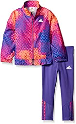 Adidas Toddler Girls\' Wind Jacket and Pant Set, Purple, 4T