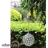 Urban Solar Hanging LED Crystal Ball Light - White