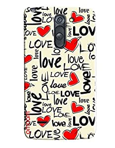 Omnam Love Pattern With Red Hearts\ Printed Designer Back Cover Case For LG G3 Stylus
